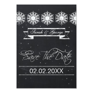 snowflakes chalkboard winter wedding save the date card