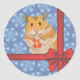 Snowflakes Christmas Hamster Classic Round Sticker