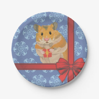 Snowflakes Christmas Hamster Paper Plate