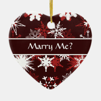 Snowflakes Christmas marriage proposal Ceramic Ornament