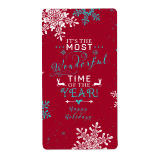 Snowflakes Christmas Red Turquoise Wonderful Time