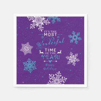 Snowflakes Christmas Xmas Purple Turquoise Disposable Napkin
