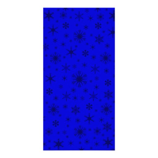 Snowflakes - Dark Blue on Blue Personalized Photo Card