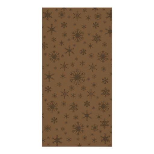 Snowflakes - Dark Brown on Brown Picture Card