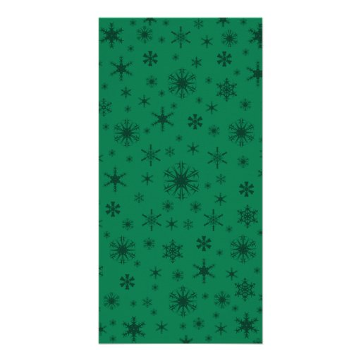 Snowflakes - Dark Green on Green Photo Card