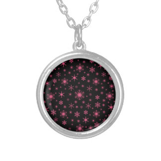 Snowflakes – Dark Pink on Black Custom Necklace