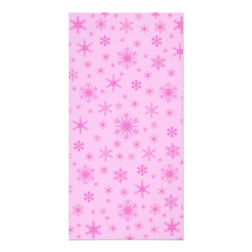 Snowflakes - Dark Pink on Pink Photo Greeting Card