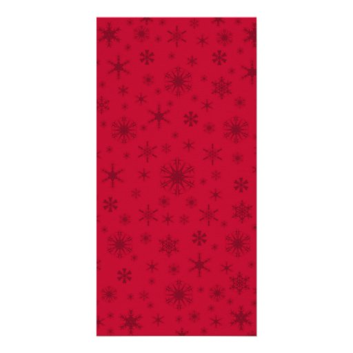 Snowflakes - Dark Red on Red Personalized Photo Card