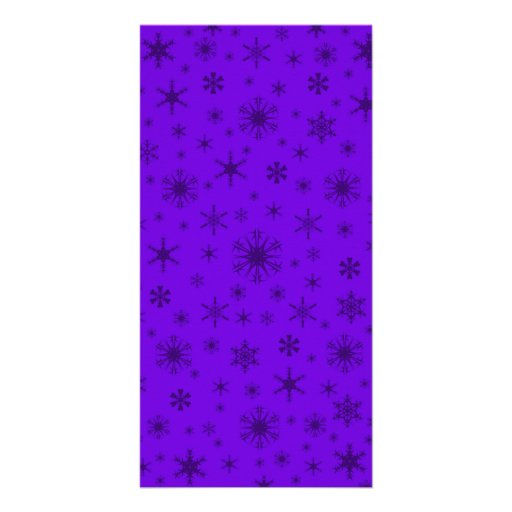 Snowflakes - Dark Violet on Violet Personalized Photo Card