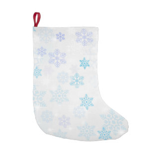 Snowflakes Double Sided Faux Linen Small Christmas Stocking