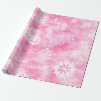 Snowflakes Fall Pink Wrapping Paper