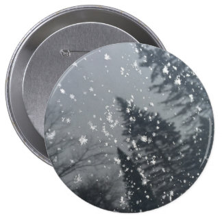 Snowflakes Falling on Trees 4 Inch Round Button