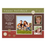 Snowflakes Family Holiday Card (olive/maroon)