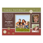 Snowflakes Family Holiday Card (olive/maroon)
