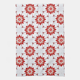 Snowflakes Flowers in Red Kitchen Towel
