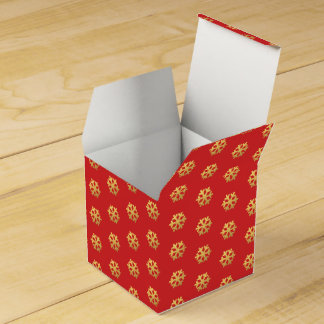 Snowflakes gold foil on red favor box