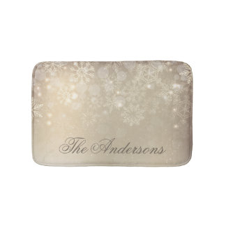 Snowflakes Gold Personalized Holiday | Bath Mat