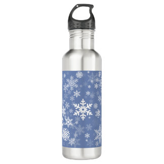 Snowflakes Graphic Customize Color Background on a 710 Ml Water Bottle