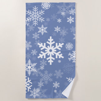 Snowflakes Graphic Customize Color Background on a Beach Towel