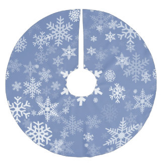 Snowflakes Graphic Customize Color Background on a Brushed Polyester Tree Skirt