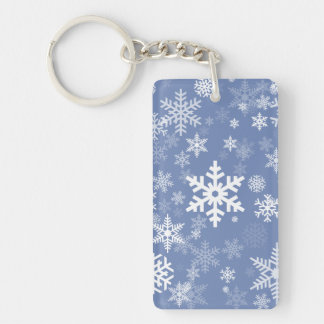 Snowflakes Graphic Customize Color Background on a Double-Sided Rectangular Acrylic Keychain
