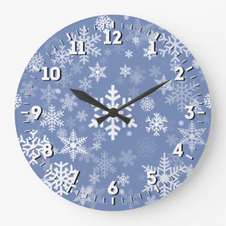 Snowflakes Graphic Customize Color Background on a Large Clock