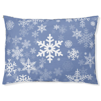 Snowflakes Graphic Customize Color Background on a Pet Bed