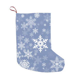 Snowflakes Graphic Customize Color Background on a Small Christmas Stocking