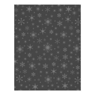 Snowflakes – Gray on Dark Gray Personalized Letterhead