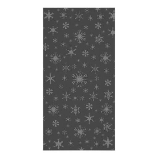 Snowflakes - Gray on Dark Gray Photo Card Template