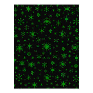 Snowflakes – Green on Black Personalized Letterhead