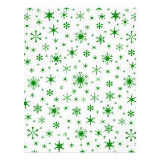 Snowflakes – Green on White Custom Letterhead