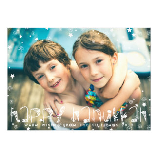 SNOWFLAKES HAPPY HANUKKAH PHOTO CARD