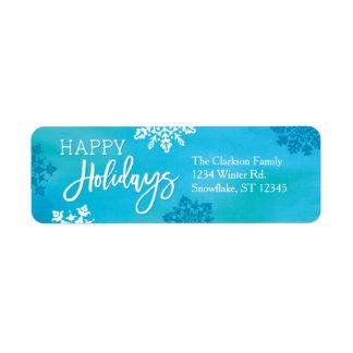 Snowflakes Happy Holidays Label