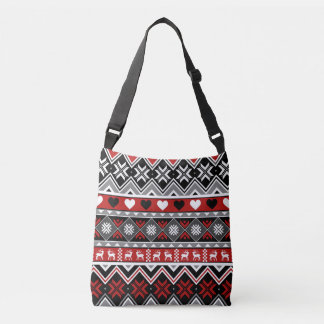 Snowflakes, Hearts. Chevron and Reindeer Crossbody Bag