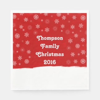 Snowflakes Holiday Design with a Red Background Paper Napkin