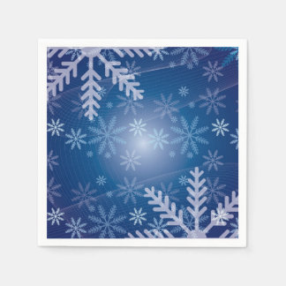 Snowflakes in Blue Disposable Napkin