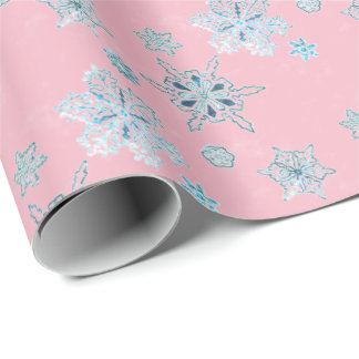 snowflakes in pale pink wrapping paper