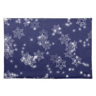 Snowflakes in the night sky placemat