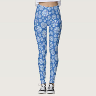 Snowflakes in White and Blue Leggings