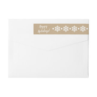 Snowflakes Kraft Christmas Address Label
