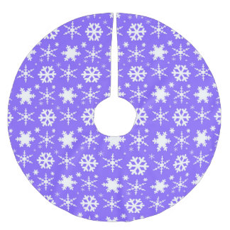 Snowflakes Lavender Brushed Polyester Tree Skirt