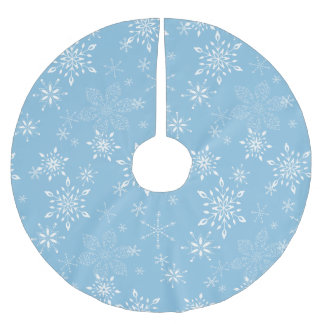 Snowflakes Lt. Blue Brushed Polyester Tree Skirt
