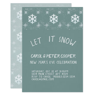 Snowflakes Modern New Year  Party Celebration Card