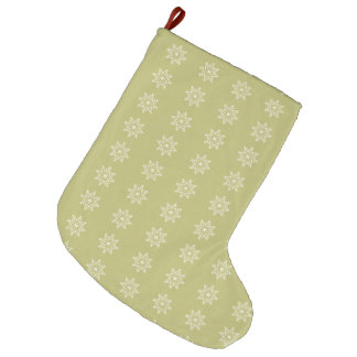 Snowflakes Olive Green Xmas Holidays Christmas Large Christmas Stocking