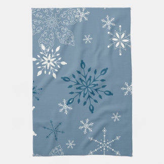 Snowflakes on a blue background kitchen towel