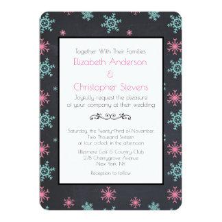 Snowflakes On Black Classy Wintery Wedding Invite