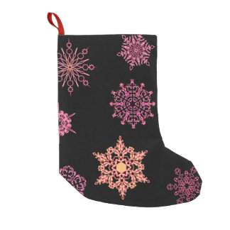 Snowflakes on Black Small Christmas Stocking