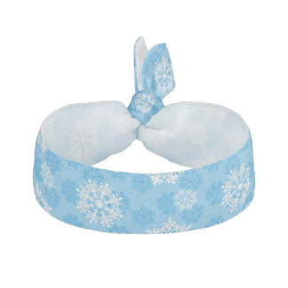 Snowflakes on Blue Background Hair Tie
