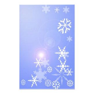 Snowflakes on Blue Christmas Stationary Customized Stationery